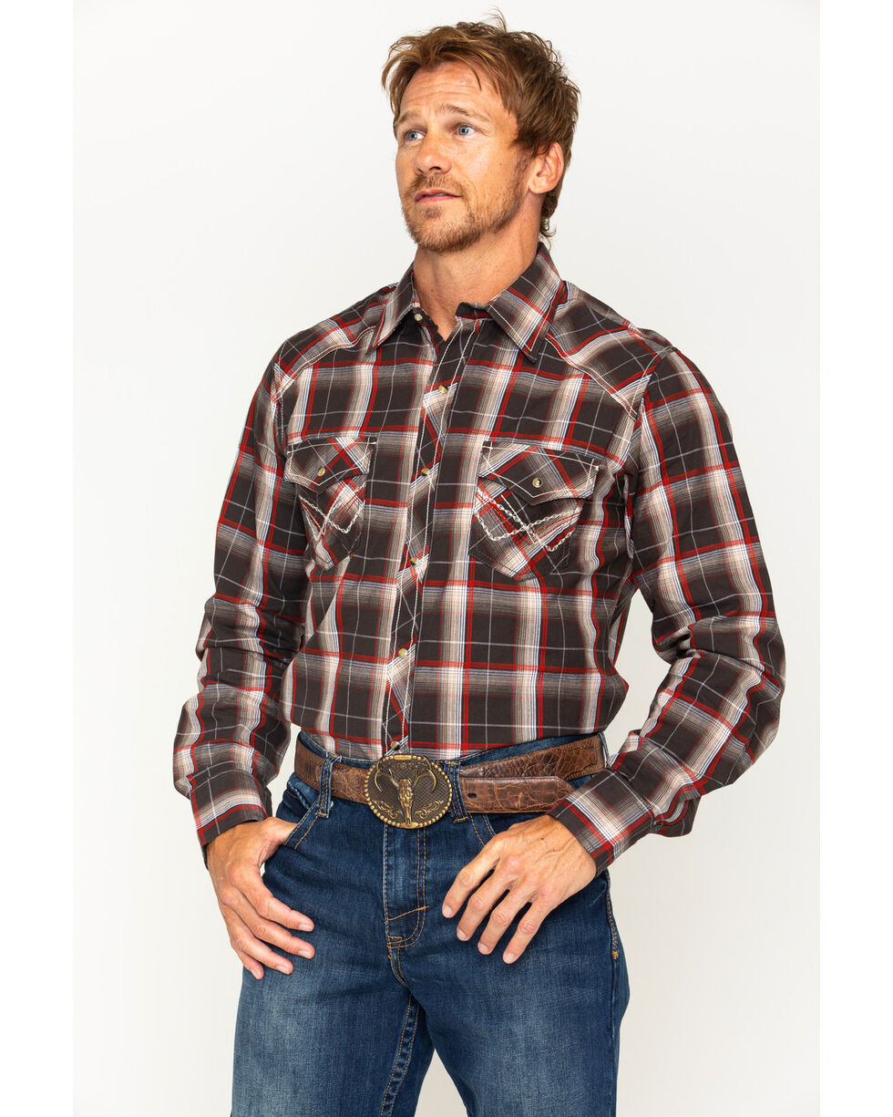 Ely 1878 Men's Accent Stitching Textured Plaid Long Sleeve Shirt, Brown, hi-res