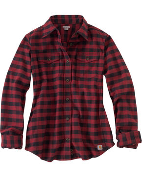 Carhartt Women's Hamilton Flannel Shirt, Red, hi-res