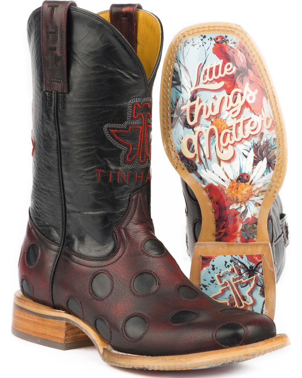 Tin Haul Women's Ladybug Little Things Matter Sole Cowgirl Boots - Square Toe, Red, hi-res
