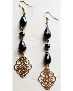 Jewelry Junkie Women's Black Faceted Dangle Earrings , Black, hi-res