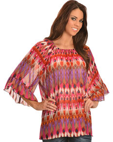 Rock 47 by Wrangler Women's Ruffle Sleeve Elastic Neck Chiffon Shirt, Multi, hi-res