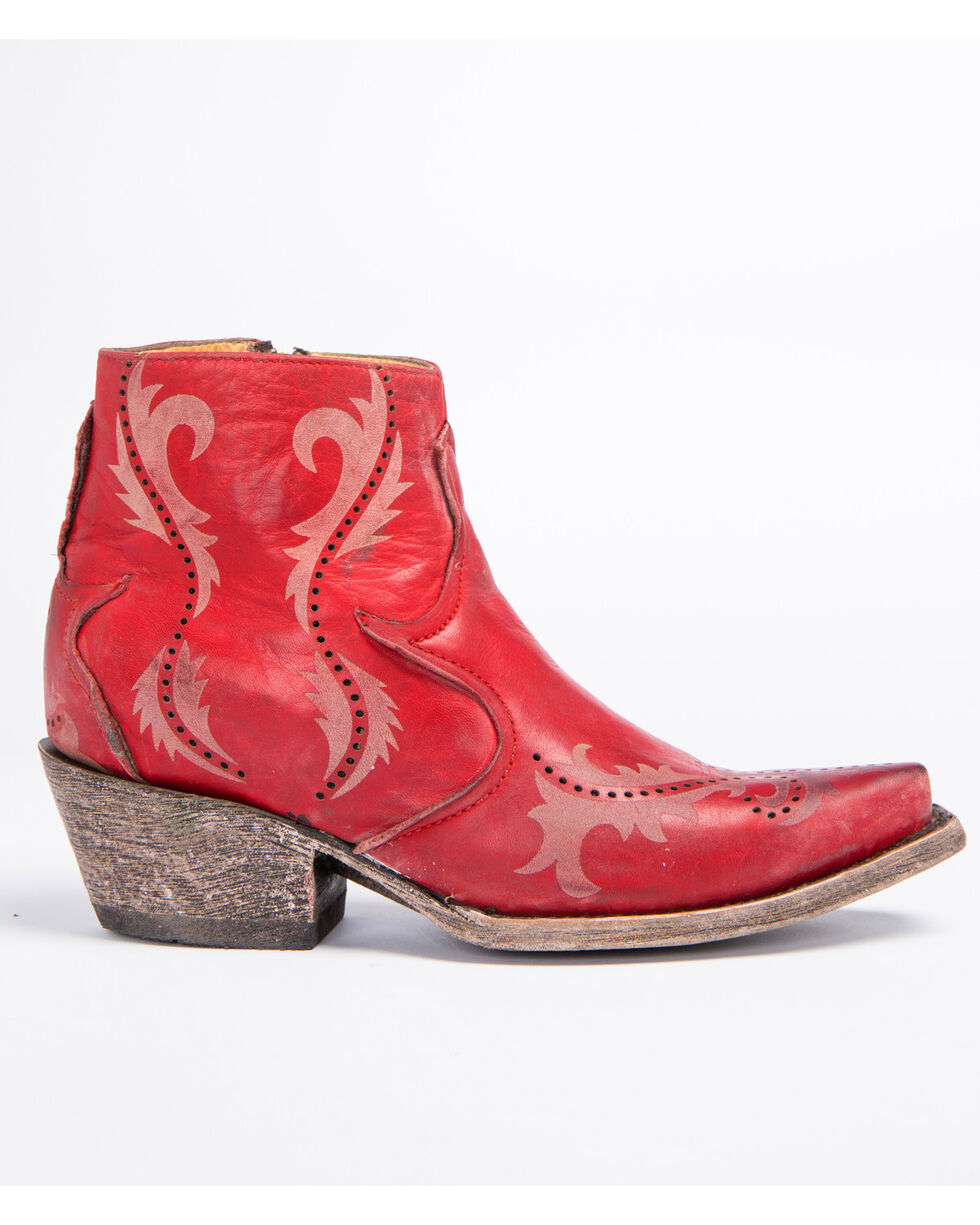 Corral Women's Red Perforated Booties - Snip Toe , Red, hi-res