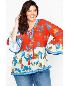 ef5867a532e62 Flying Tomato Women s Mixed Floral Print String Tie Peasant Top - Plus