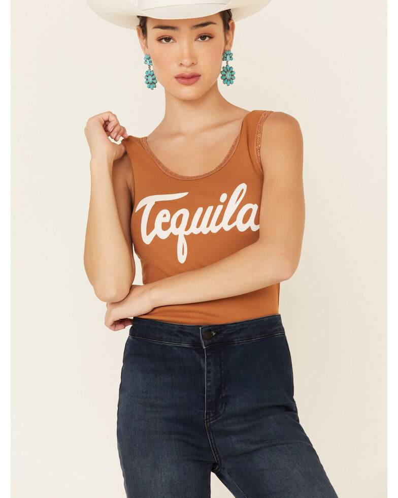 Bandit Women's Cognac Tequila Graphic Lace Trim Tank Top , Cognac, hi-res