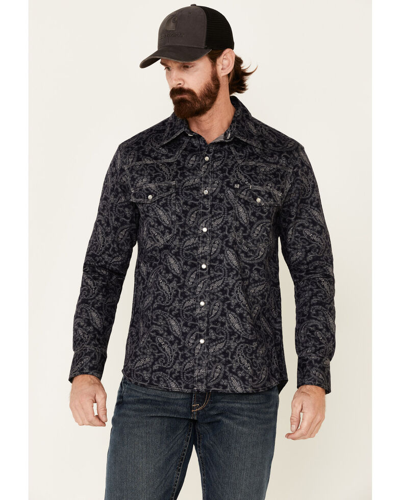 Rock & Roll Denim Men's FR Black Paisley Long Sleeve Work Shirt , Black, hi-res