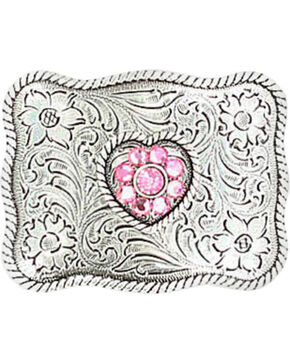 M & F Western Girls' Pink Crystal Heart Belt Buckle, Silver, hi-res