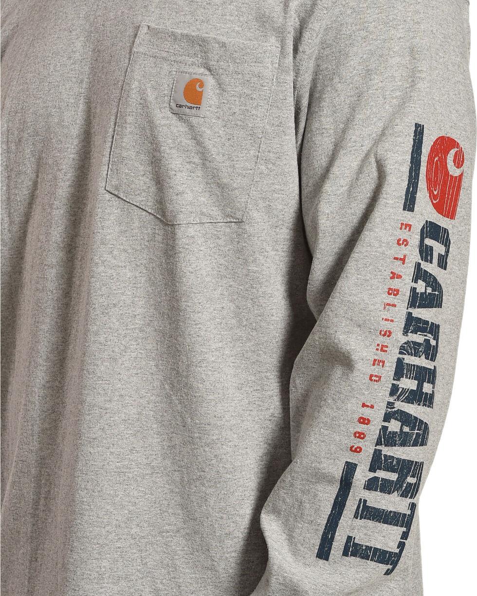 Carhartt Men's Logo Crew Long Sleeve Shirt, Heather Grey, hi-res