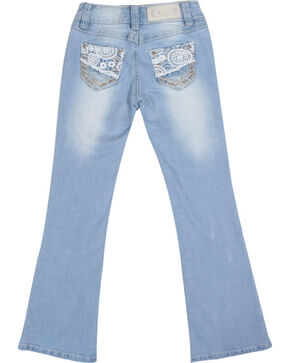 Shyanne® Girls' Lace & Bling Boot Cut Jeans, Light Blue, hi-res