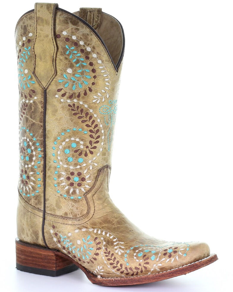 Circle G by Corral Women's Gold Embroidery Western Boots - Square Toe, Gold, hi-res
