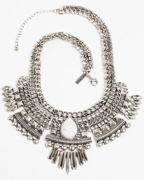 Idyllwind Women's Mischief Mix White Turquoise Bib Necklace, Silver, hi-res