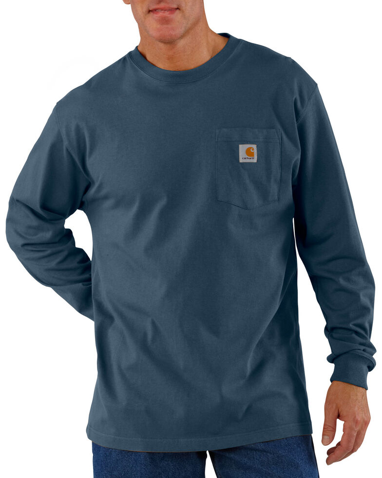38234f7bc6 Zoomed Image Carhartt Men's Long Sleeve Work T-Shirt, Blue Stone, hi-res