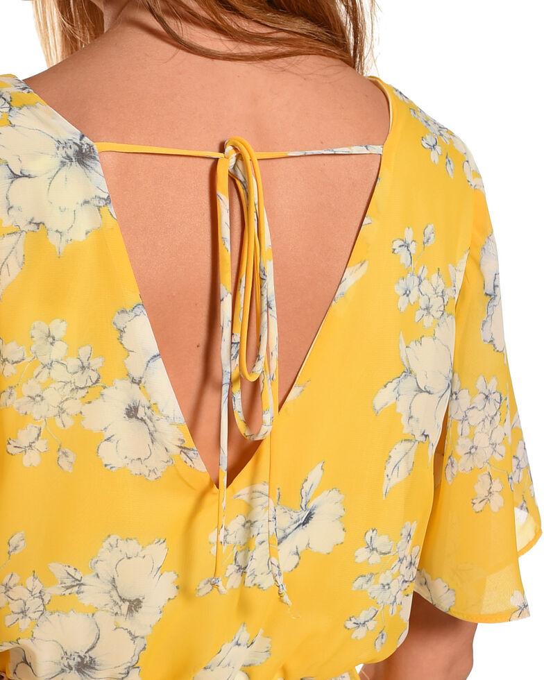 CES FEMME Women's Yellow Floral Print Romper Dress , Yellow, hi-res