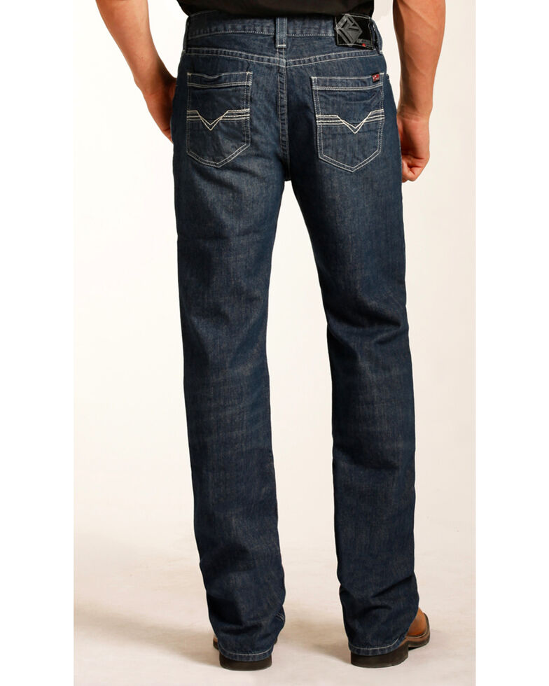 Rock & Roll Cowboy Men's Double Barrel Relaxed Fit Flame Resistant Bootcut Jeans, Blue, hi-res
