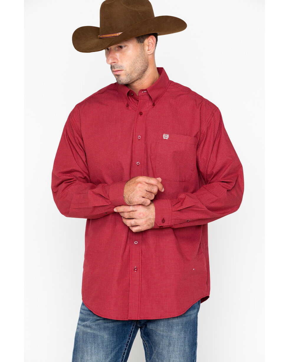 Cinch Men's Red Plaid Western Shirt , Burgundy, hi-res
