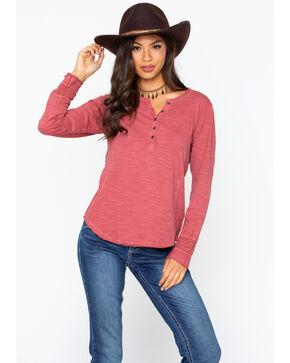 North River Women's Slub Jersey Henley Crochet Shirt , Red, hi-res