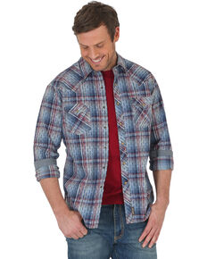 Wrangler Retro Men's Blue Premium Plaid Long Sleeve Western Shirt , Blue, hi-res
