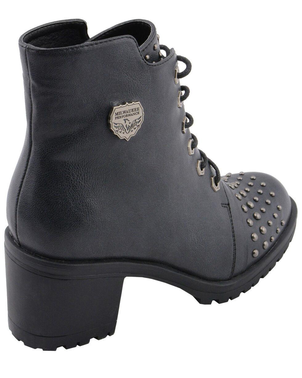 Milwaukee Leather Women's Studded Rocker Boots - Round Toe, Dark Grey, hi-res