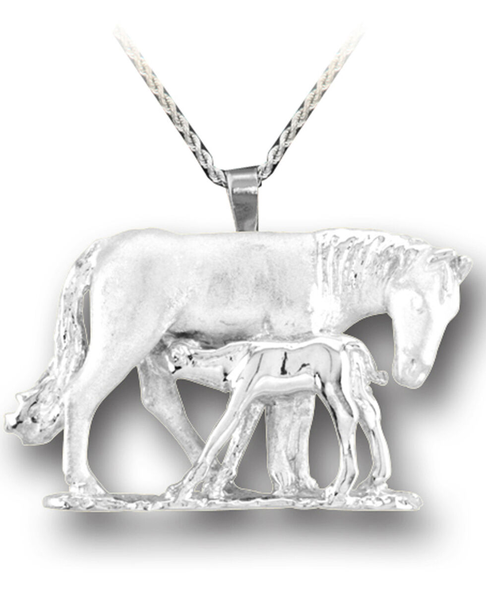 Kelly Herd Women's Silver Mare & Foal Pendant Necklace , Silver, hi-res