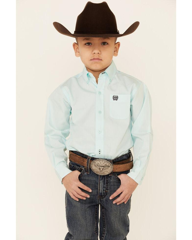 Cinch Toddler Boys' Teal Solid Long Sleeve Western Shirt , Light Blue, hi-res