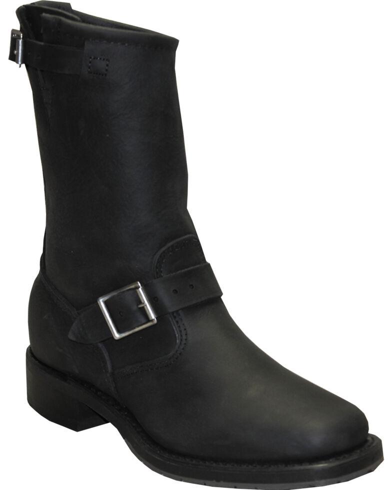 "Sage by Abilene Men's 11"" Engineer Boots - Square Toe, Black, hi-res"
