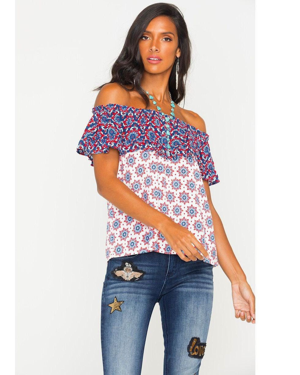Eyeshadow Women's Off-The-Shoulder Print Top, Red/white/blue, hi-res