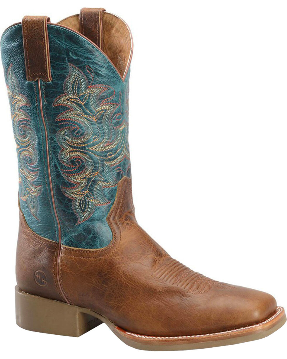 "Double H Men's 12"" Flexion Western Roper Boots - Wide Square Toe , Brown, hi-res"