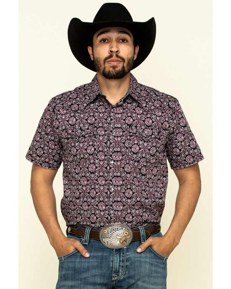 Cody James Men's Navy Floral Geo Print Short Sleeve Western Shirt , Navy, hi-res