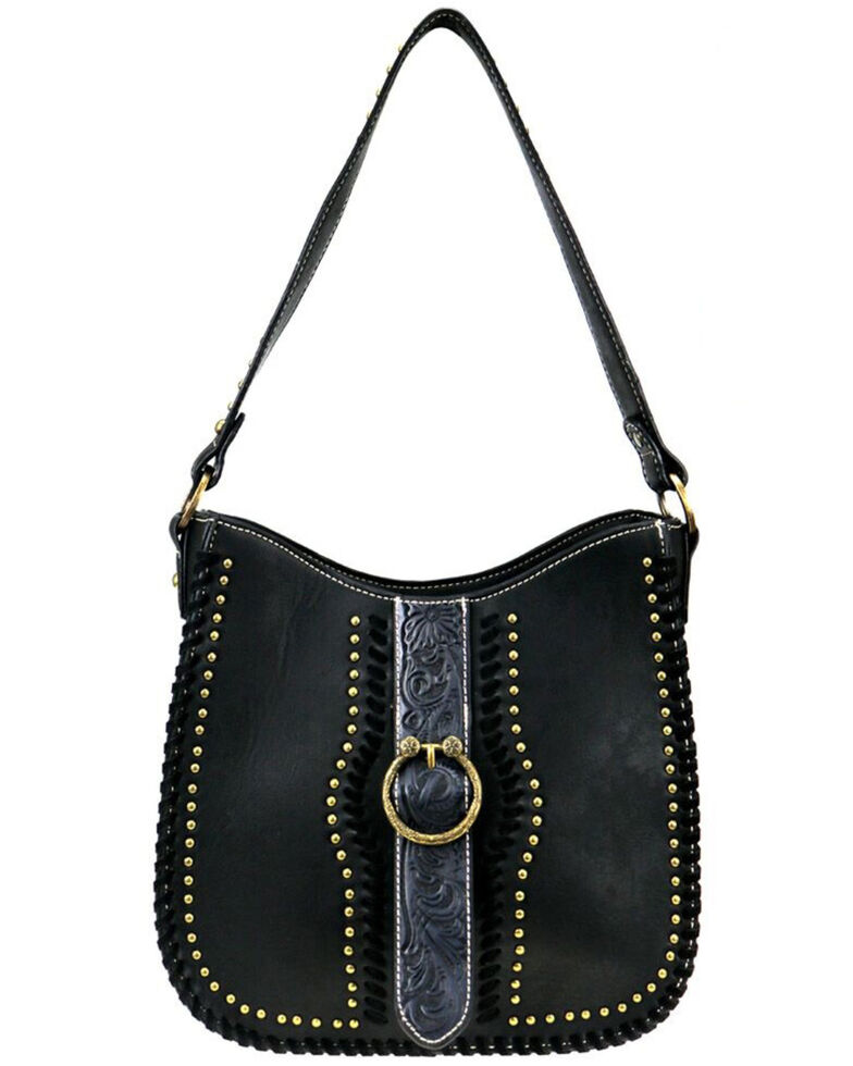 Montana West Women's Tooled Concealed Hobo Bag, Black, hi-res