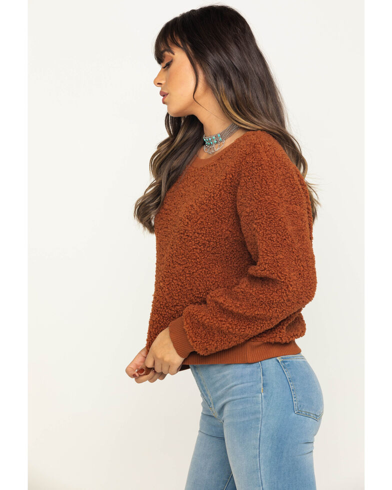 Eyeshadow Women's Fuzzy Sweatshirt , Rust Copper, hi-res