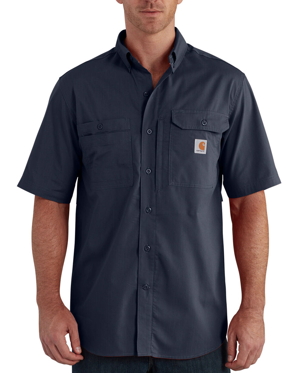 Carhartt Men's Navy Force Ridgefield Short Sleeve Shirt - Big, Navy, hi-res