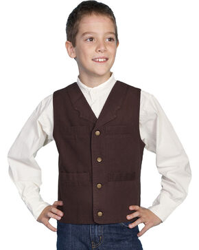 Scully Boys' Canvas Vest, Walnut, hi-res