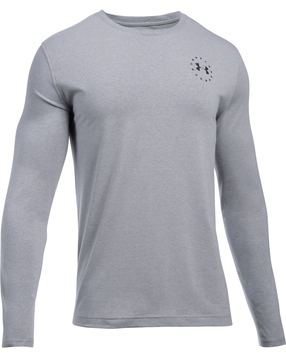 Under Armour Men's Grey Freedom Flag Long Sleeve Tee , Heather Grey, hi-res