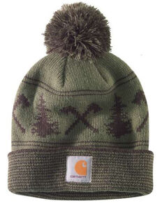 Carhartt Men's Moss Green Searchlight Pom Beanie , Moss Green, hi-res