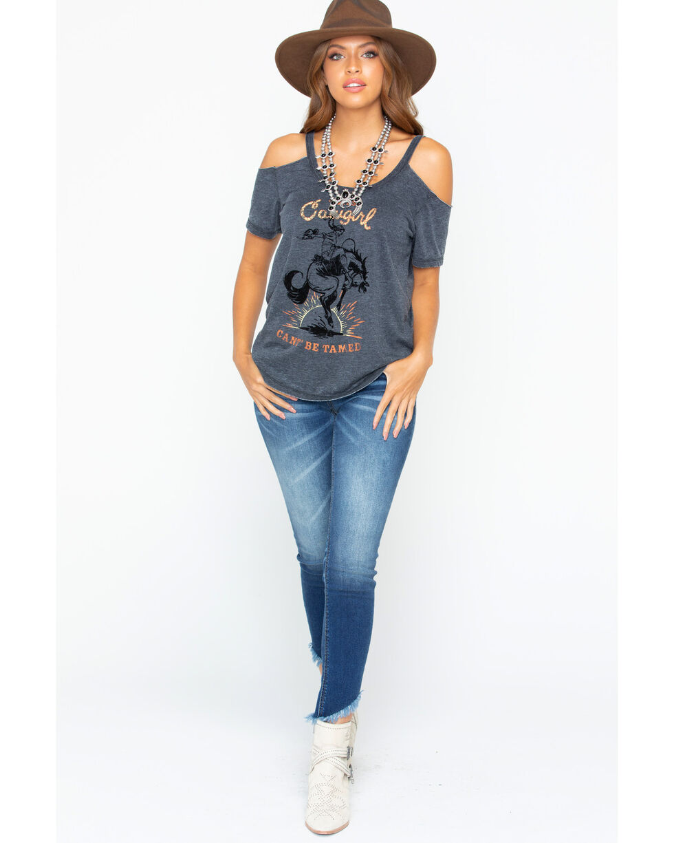 Z Supply Women's Wild Cowgirl Cold Shoulder Top, Charcoal, hi-res