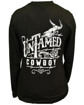 Cowboy Hardware Men's Untamed Cowboy Longhorn Skull Graphic Long Sleeve Shirt , Black, hi-res