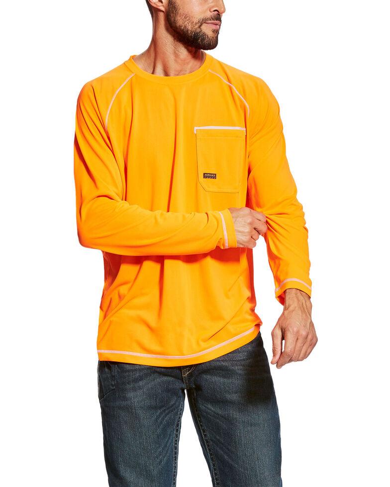 Ariat Men's Orange Rebar Sunstopper Long Sleeve Work Pocket T-Shirt - Tall , Orange, hi-res