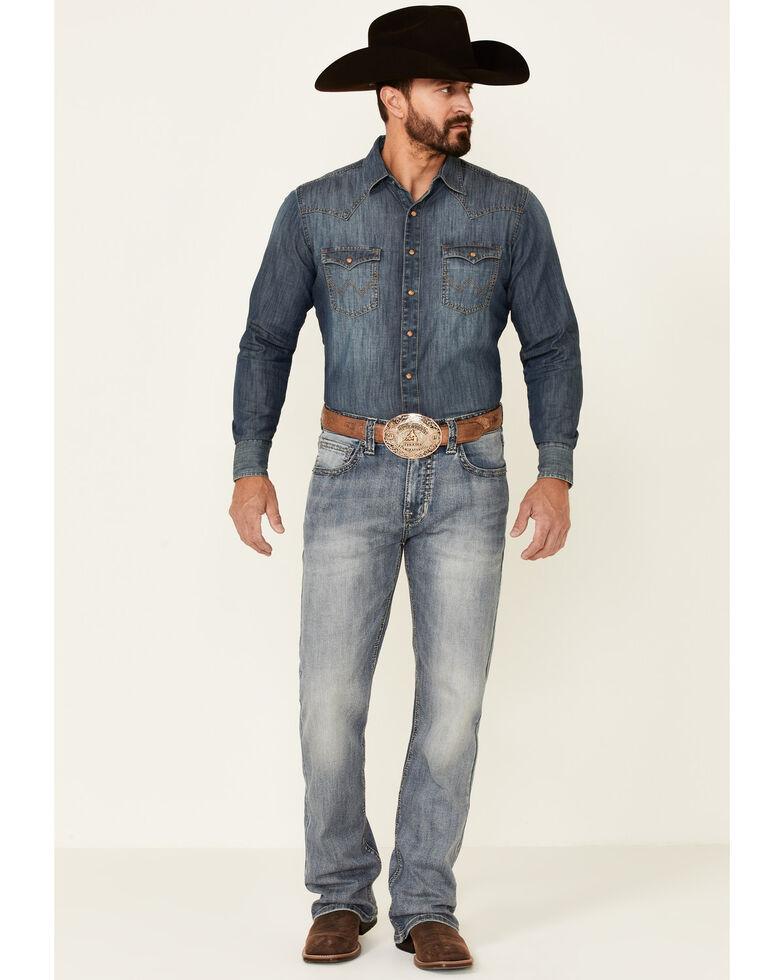 Rock & Roll Denim Men's Double Barrel Medium Vintage Wash Stretch Relaxed Bootcut Jeans , Blue, hi-res