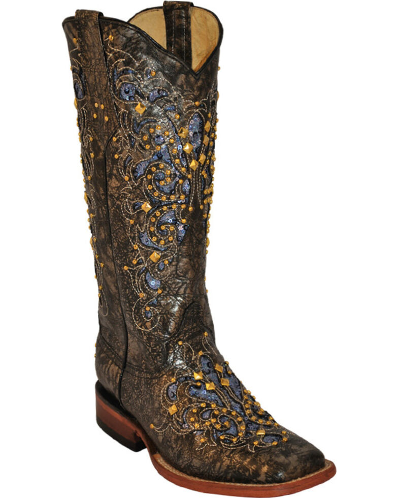 Ferrini Women's Southern Belle Western Boots - Square Toe, Brown, hi-res