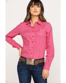 Cinch Women's Pink Diamond Geo Long Sleeve Western Core Shirt, Pink, hi-res