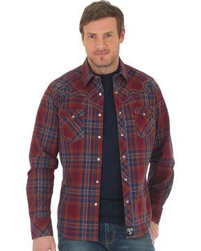 Wrangler Rock 47 Men's Plaid Two Pocket Snap Shirt, Red, hi-res