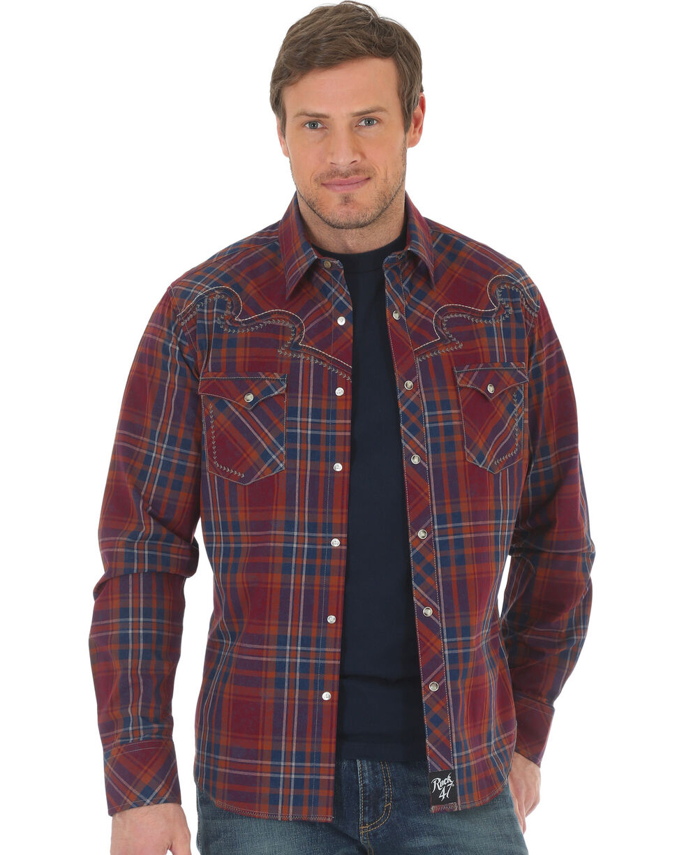 Rock 47 by Wrangler Men's Plaid Two Pocket Snap Long Sleeve Shirt, Red, hi-res