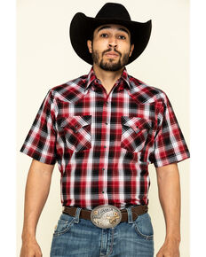 Ely Cattleman Men's Multi Med Plaid Short Sleeve Western Shirt - Tall , Burgundy, hi-res