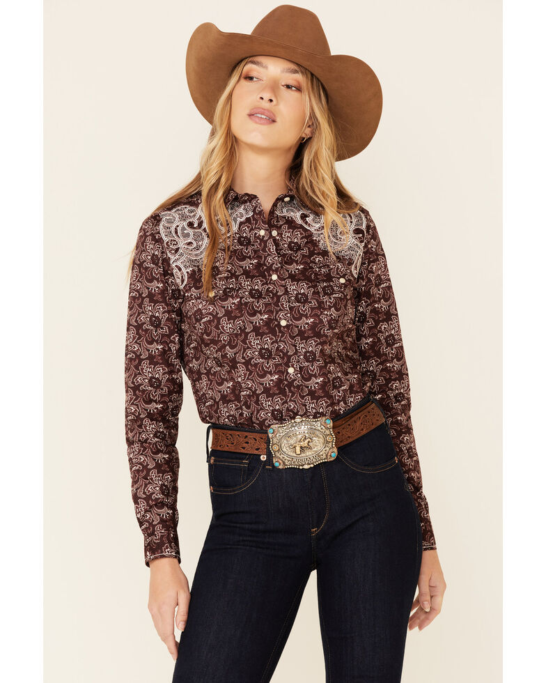 Rough Stock By Panhandle Women's Wine Floral Print Lace Yoke Long Sleeve Snap Western Core Shirt , Burgundy, hi-res