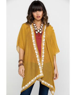 Shyanne Women's Harvest Moon Shawl, Yellow, hi-res