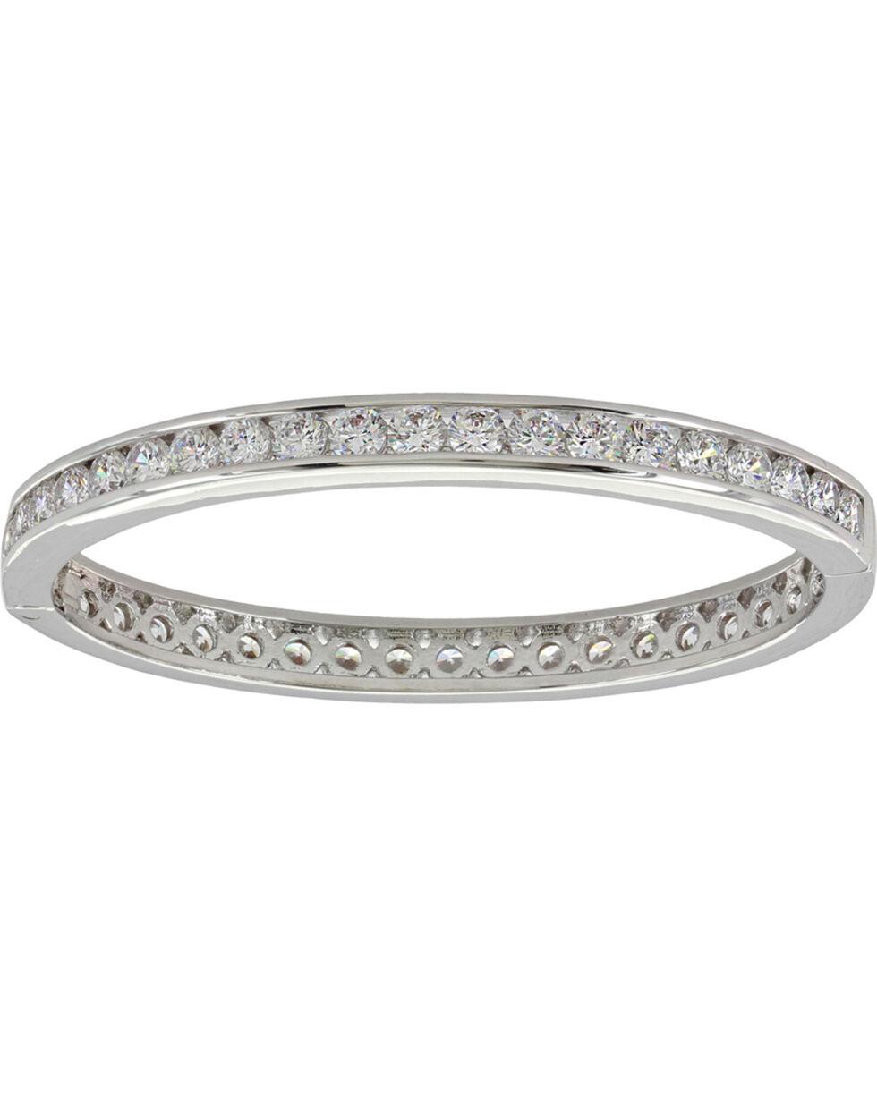 Montana Silversmiths Women's Rhinestone Hinged Bracelet, Silver, hi-res