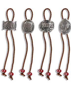 Demdaco Silver Farm Bolo Napkin Rings - Set of 4 , Silver, hi-res