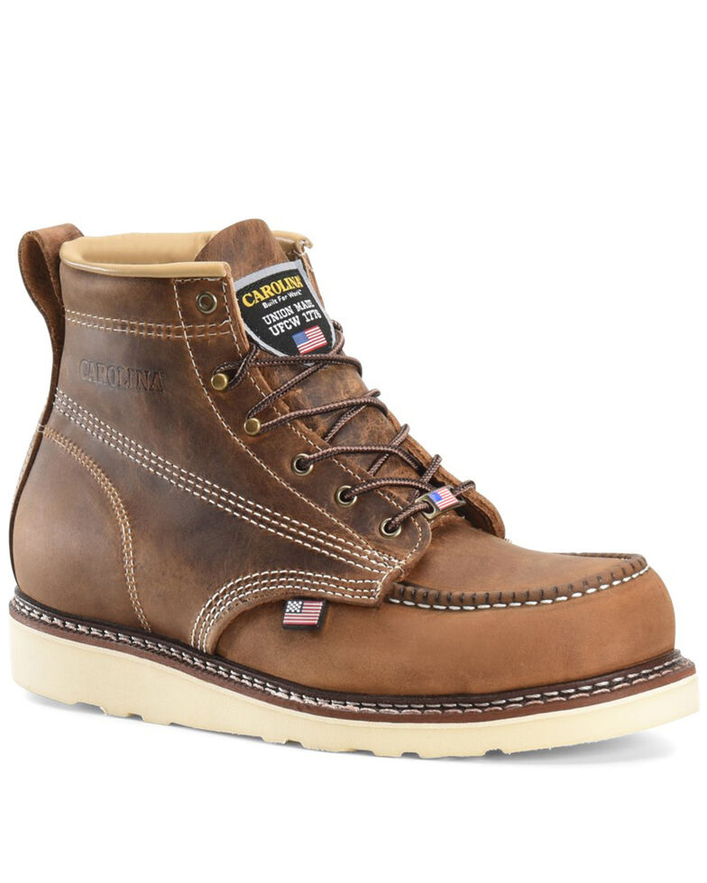 Carolina Men's AMP USA Lace-Up Work Boots - Soft Toe, Brown, hi-res