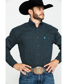 George Strait By Wrangler Men's Small Diamond Geo Print Long Sleeve Western Shirt , Black, hi-res