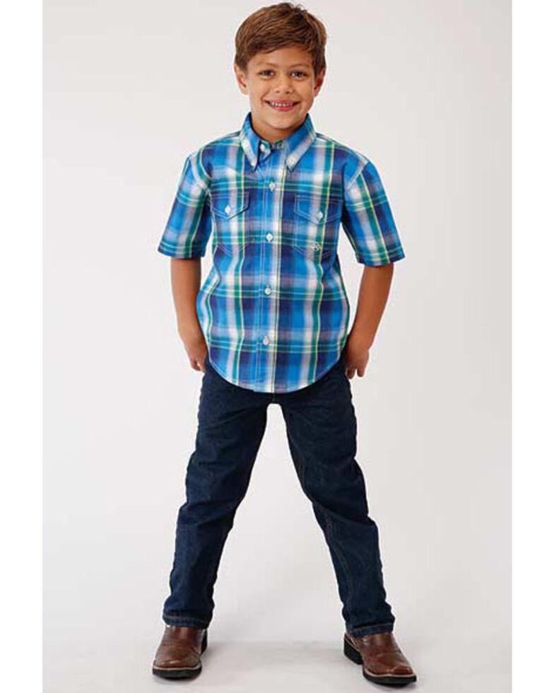 Roper Boys' Amarillo Blue Water Plaid Short Sleeve Western Shirt , Multi, hi-res