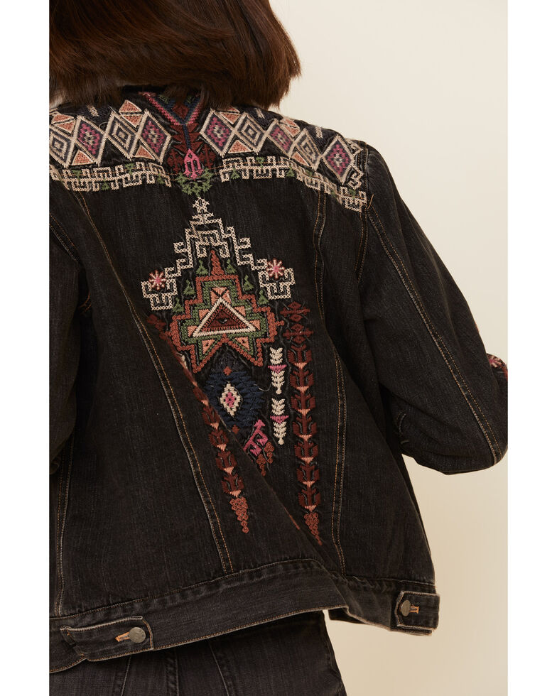 Johnny Was Women's Yadani Sherpa Denim Jacket , Black, hi-res